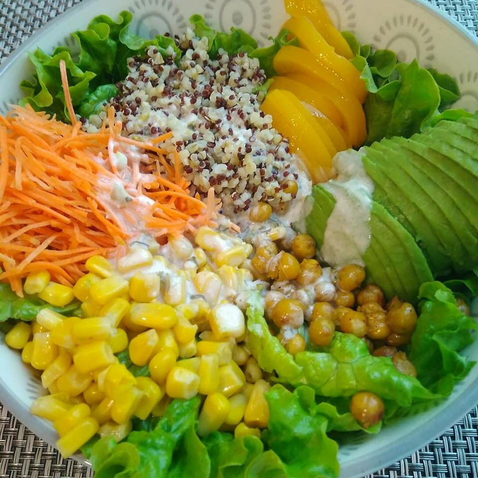 Buddhabowl pêche quinoa