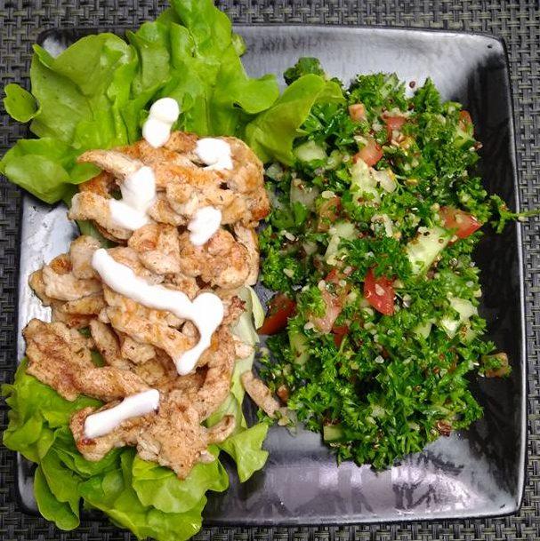 Chawarma de poulet & taboulé libanais
