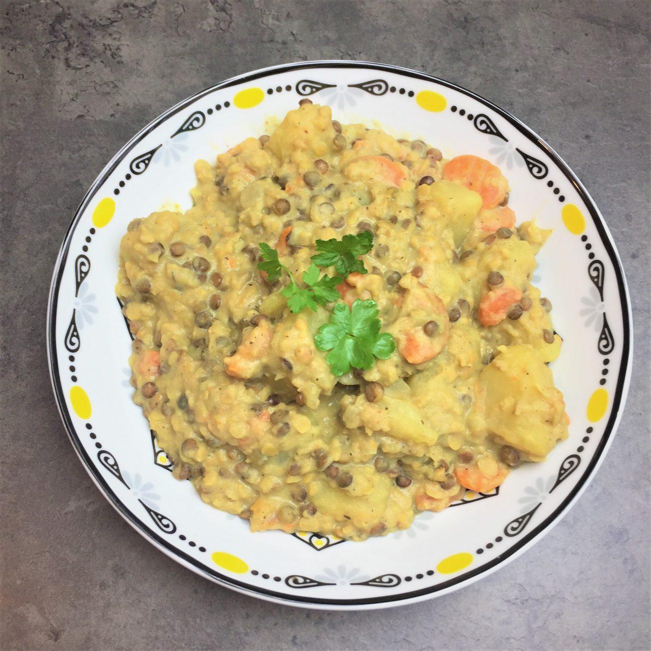 Dahl au curry et pommes de terre